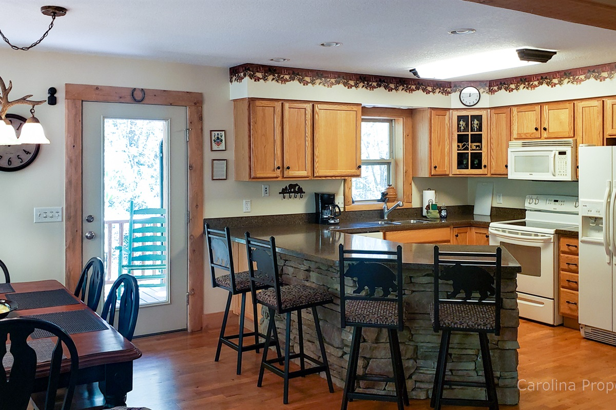 Kitchen with large counter area and seating