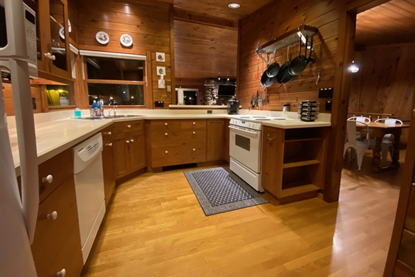 The kitchen at Rocky Shores is fully equipped and stocked with many kitchen essentials.