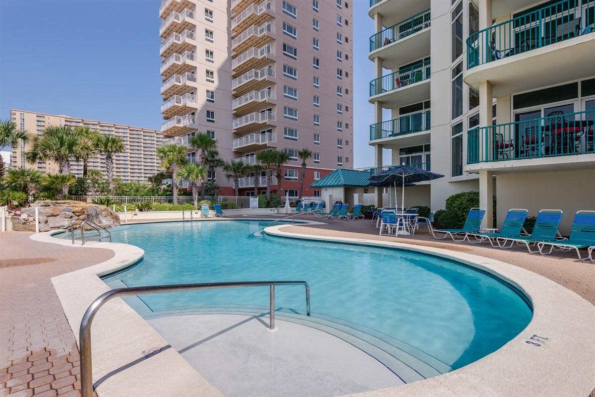 Beachfront pool deck