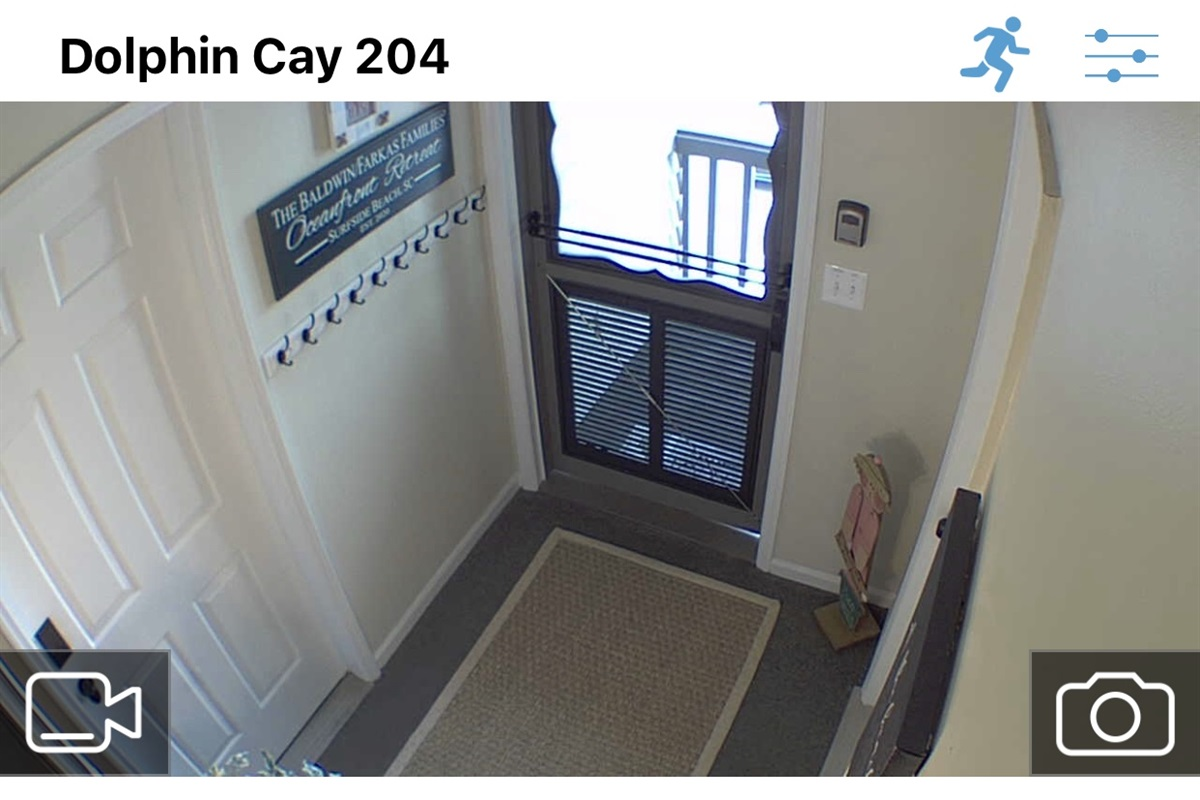 View from security camera in alcove - there are no cameras within the actual unit