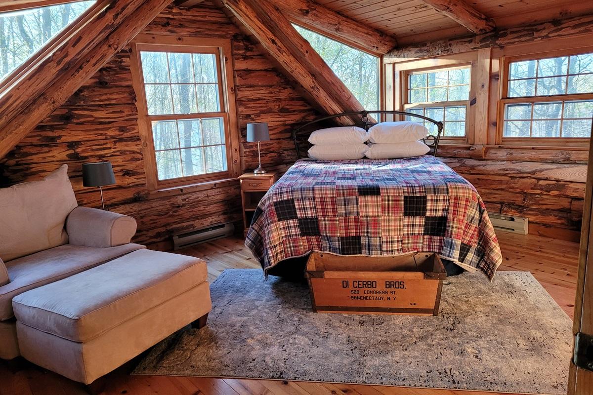 Master bedroom featuring quintessential ADK architecture