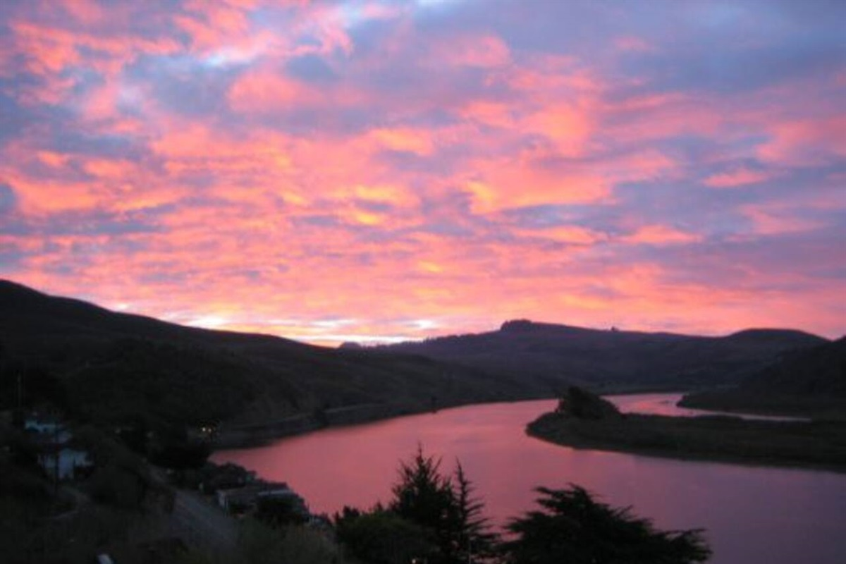 River Sea Cottage Sun Rise