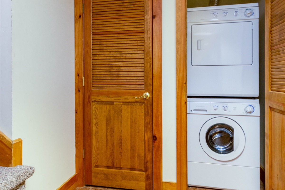 Storage space, washer and dryer.