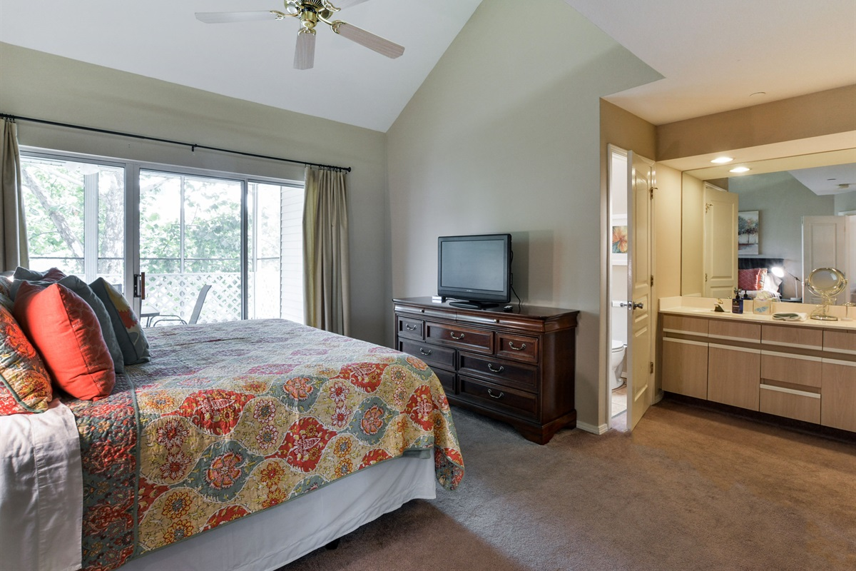 King beds and TVs in every room! Here's the beautiful, airy Master Suite