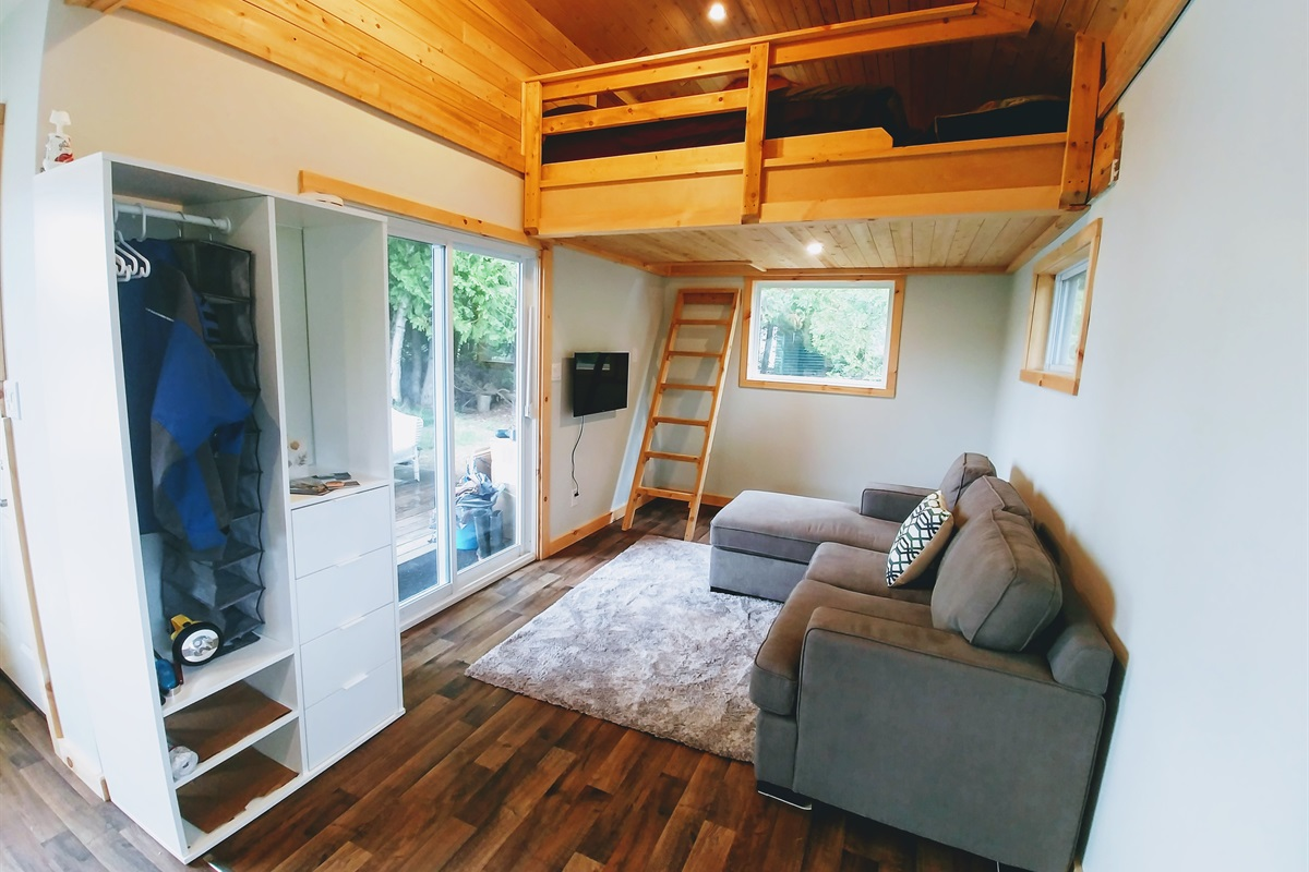 Upper Loft with double bed and pull out sofa bed