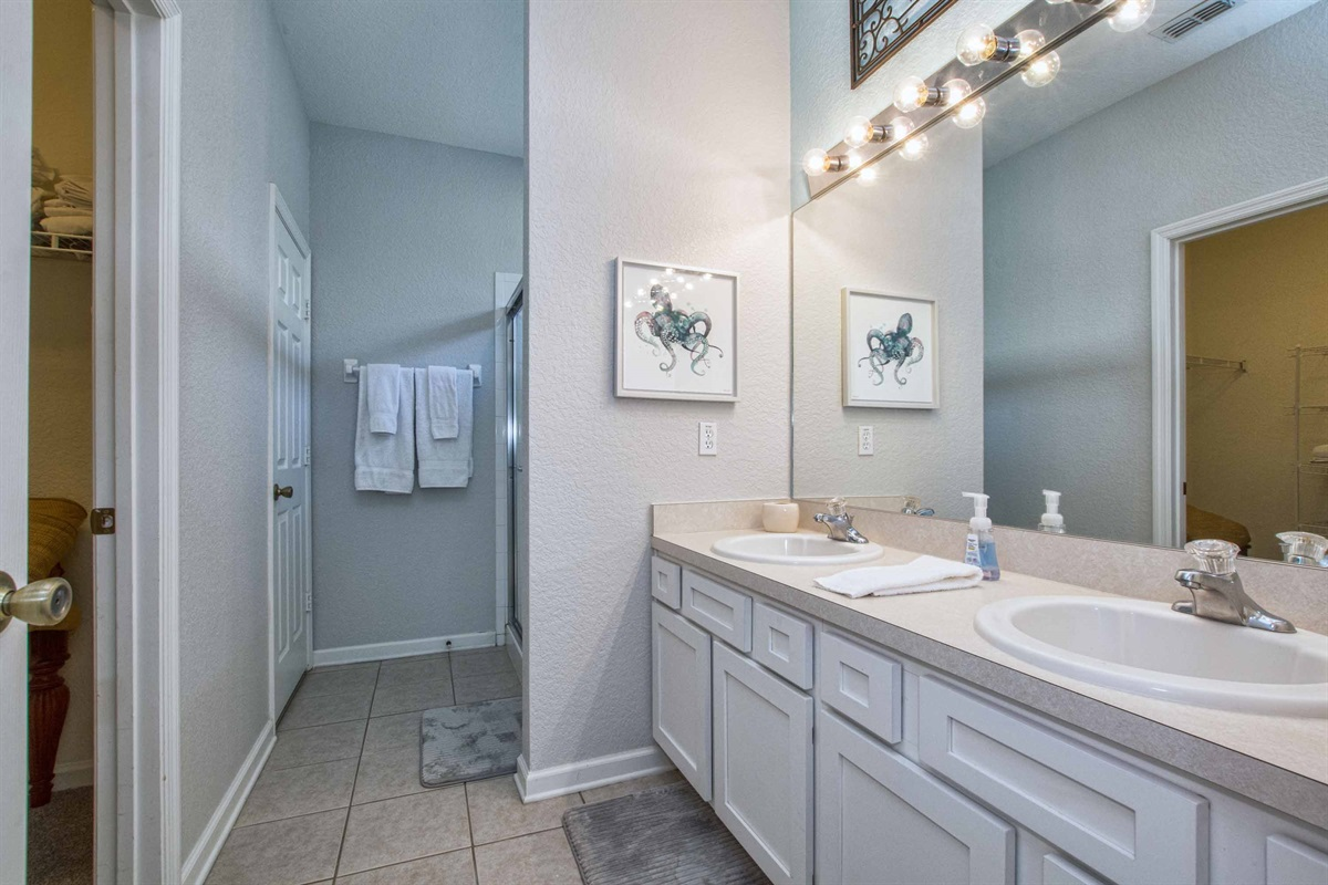 En suite bathroom for master bedroom one.