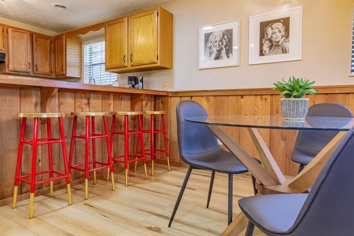 Dining area + stools