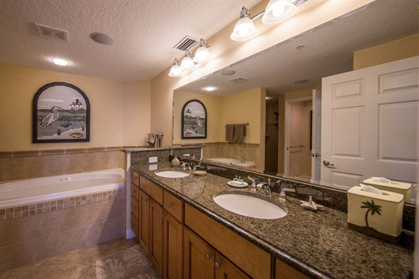 Master bath suite - jacuzzi tub, separate shower,  tile and granite throughout!