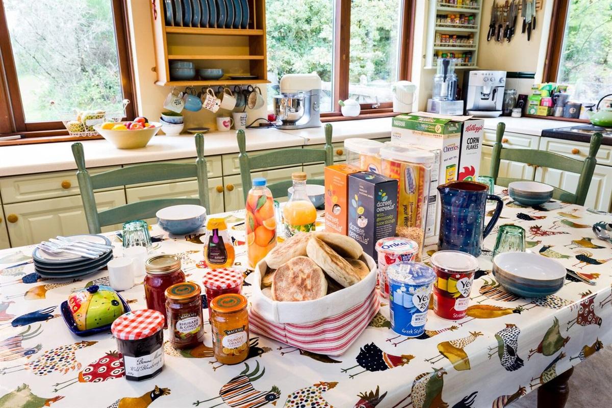 Breakfast in the kitchen.