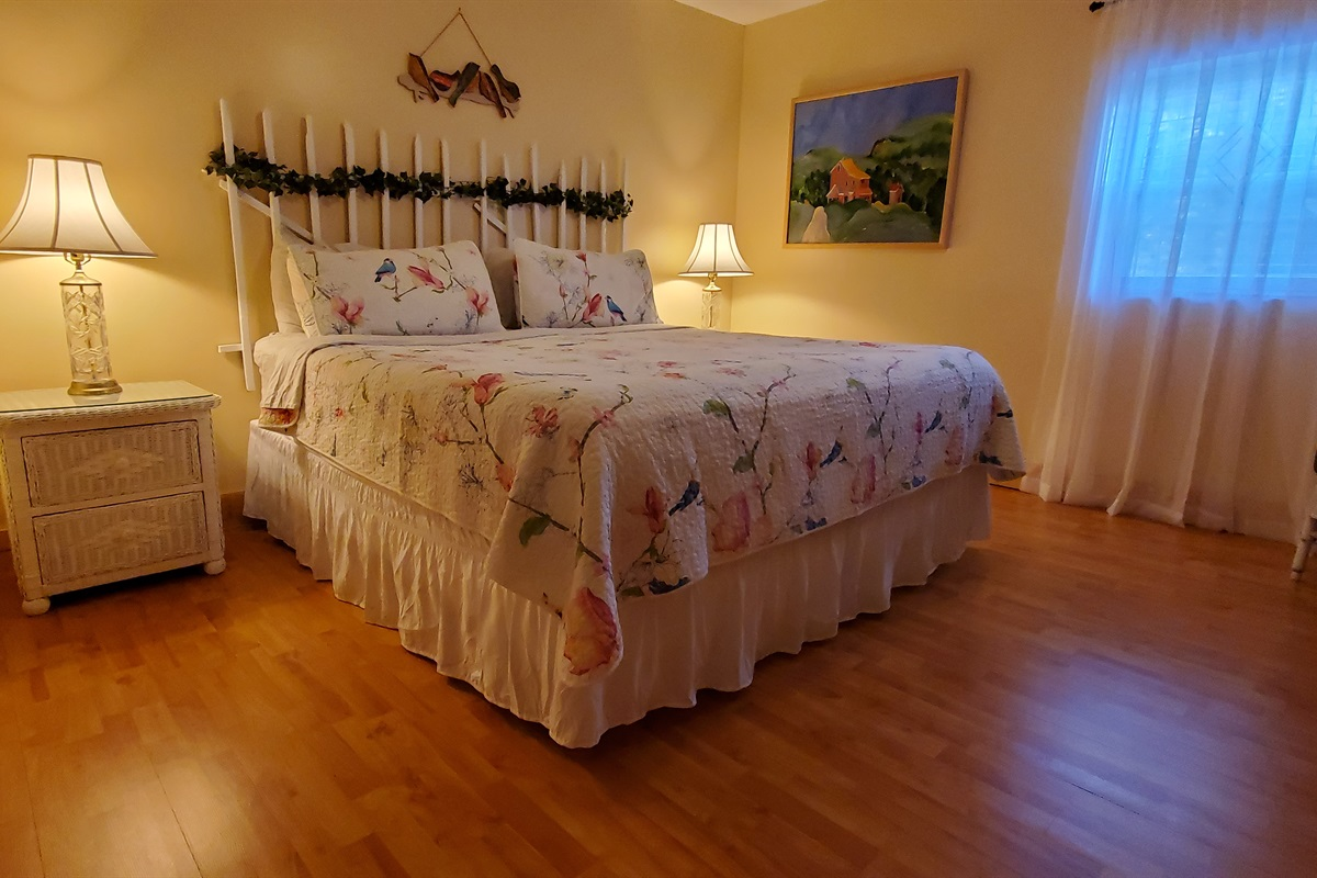 Large king bedroom, located downstairs off gameroom, has full attached bathroom