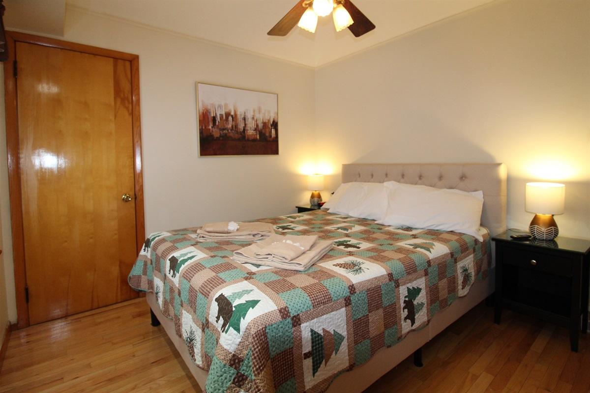 Main floor bedroom #2 with smart Roku TV and queen size bed