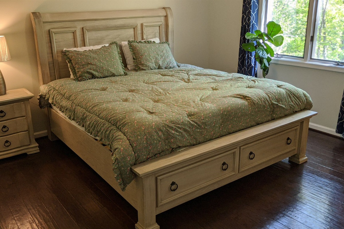 Master bedroom with California King and ensuite bathroom