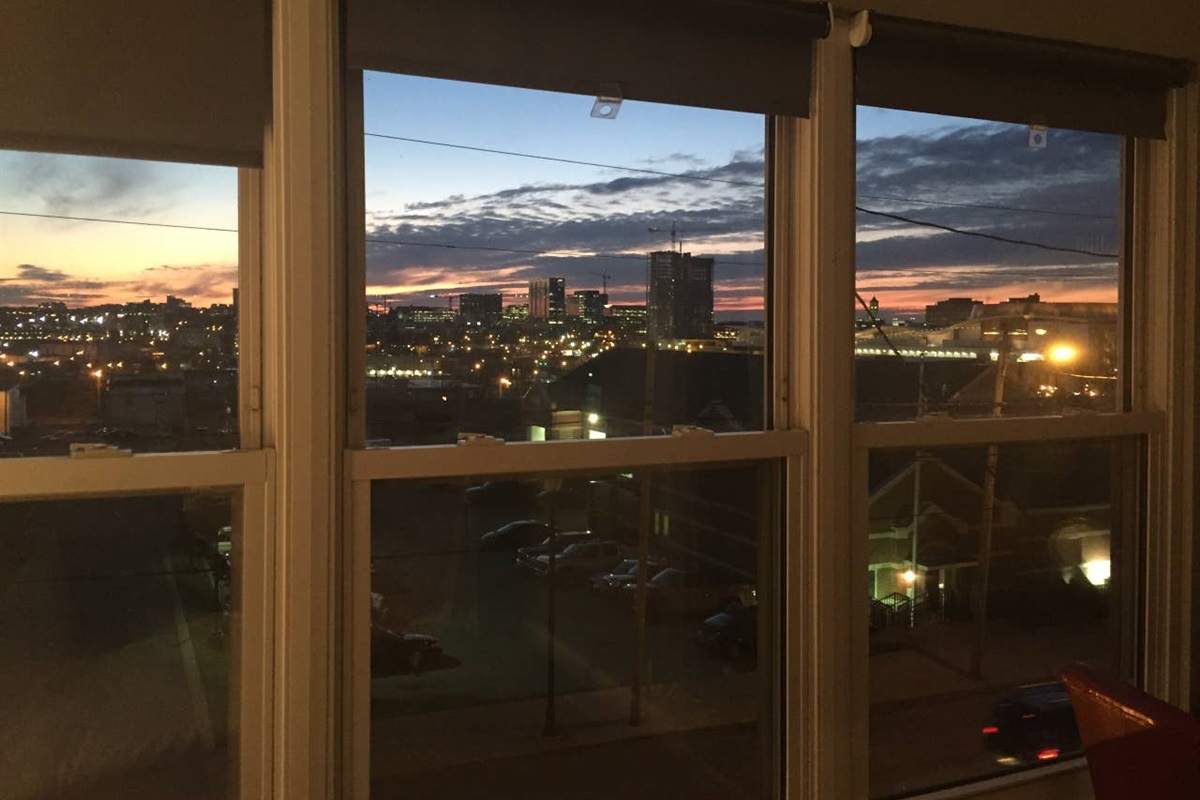 Fantastic city and sunset views! This condo is located downtown the buildings you see in the distance are located in the Gulch and West End.