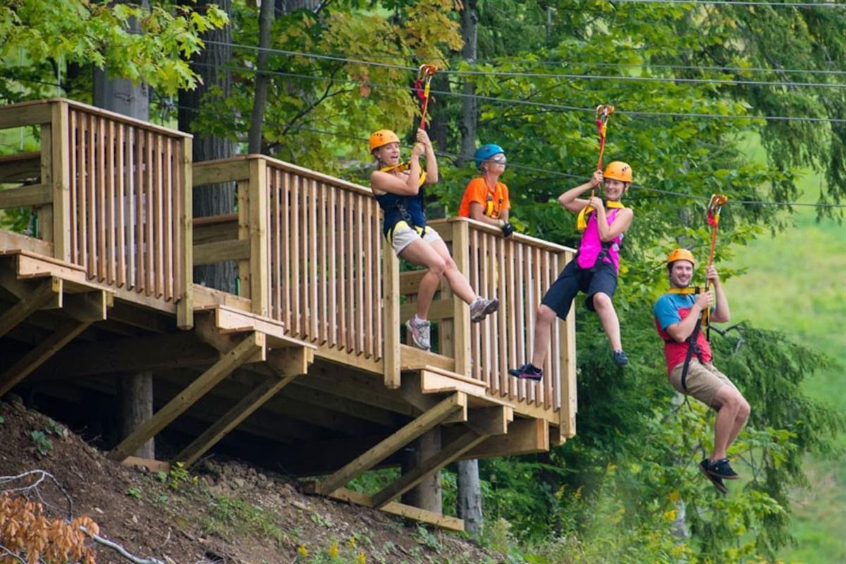 Zip lining at Blue Mountain Base Lodge