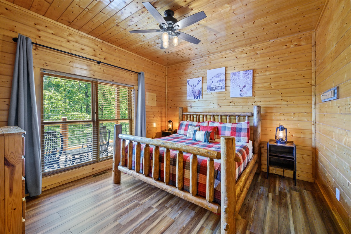 Bottom Floor Bedroom #1 with King, Blackout Curtains, 50 Inch Smart TV, USB Ports and On-Suite Full Bathroom