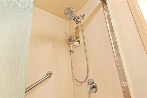Shower with frosted glass, handle, and great water pressure