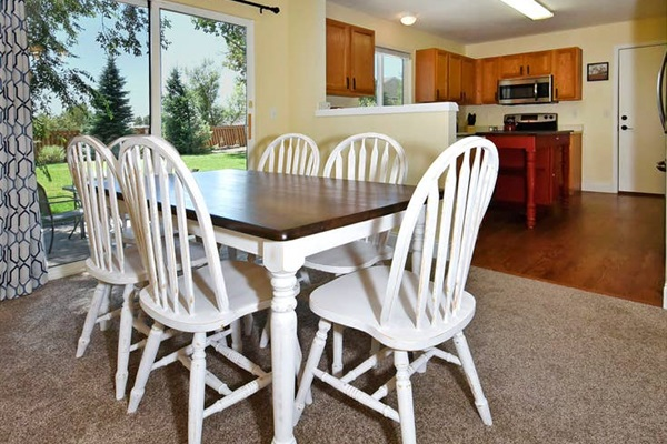 Everybody can help cook in this open concept kitchen and dining room!