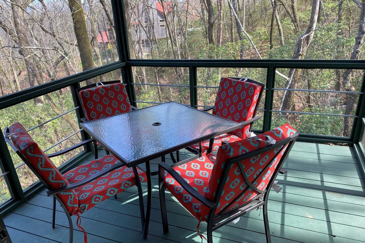 Early morning? Take in the sunrise in the this screened in porch off of the Master Bedroom.