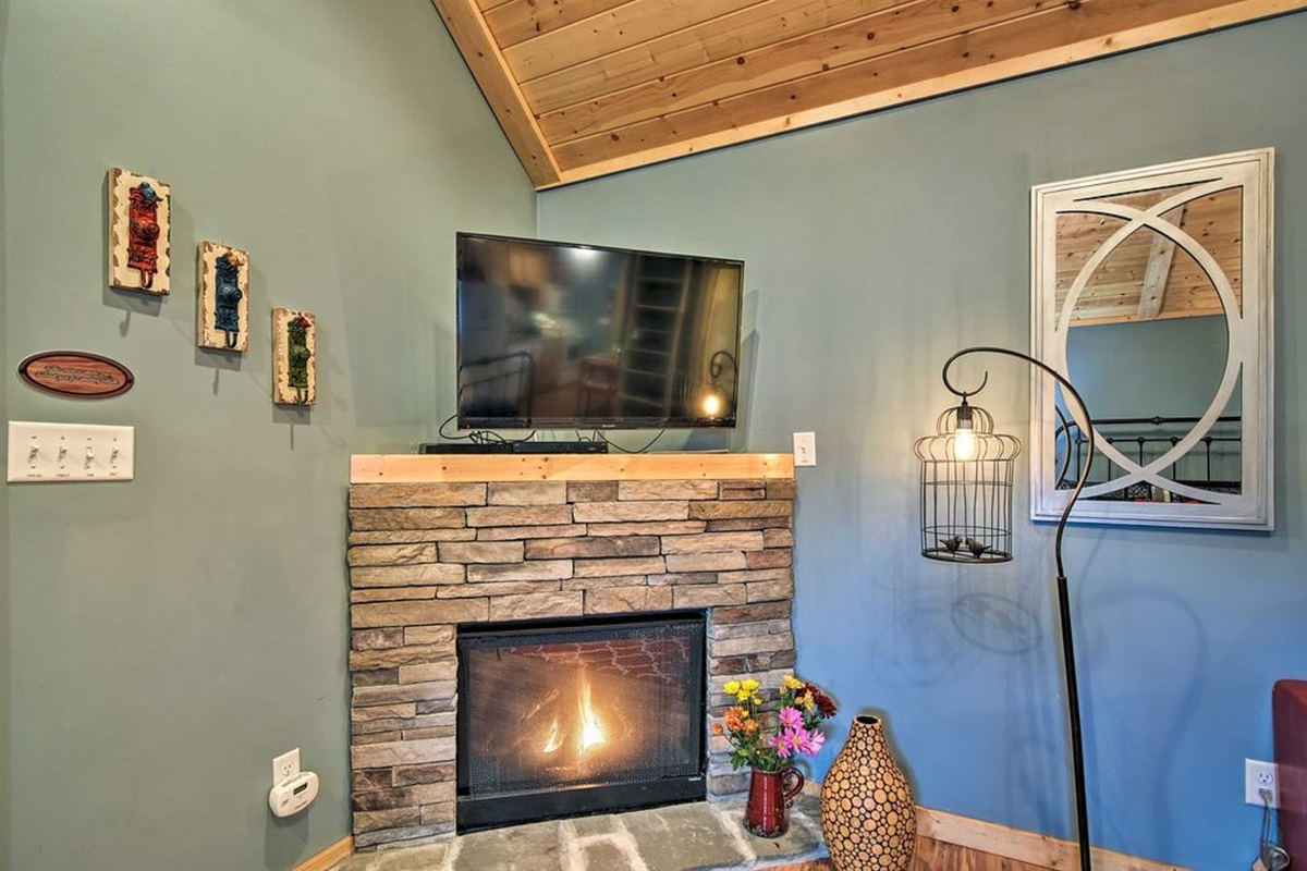Watch a show on the 42-inch flat-screen TV.