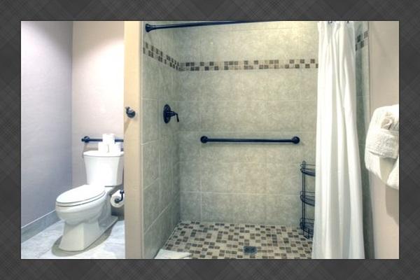 Master Bath #7 - Master bath for bedroom #7.  Walk/roll in shower, rainforest shower head