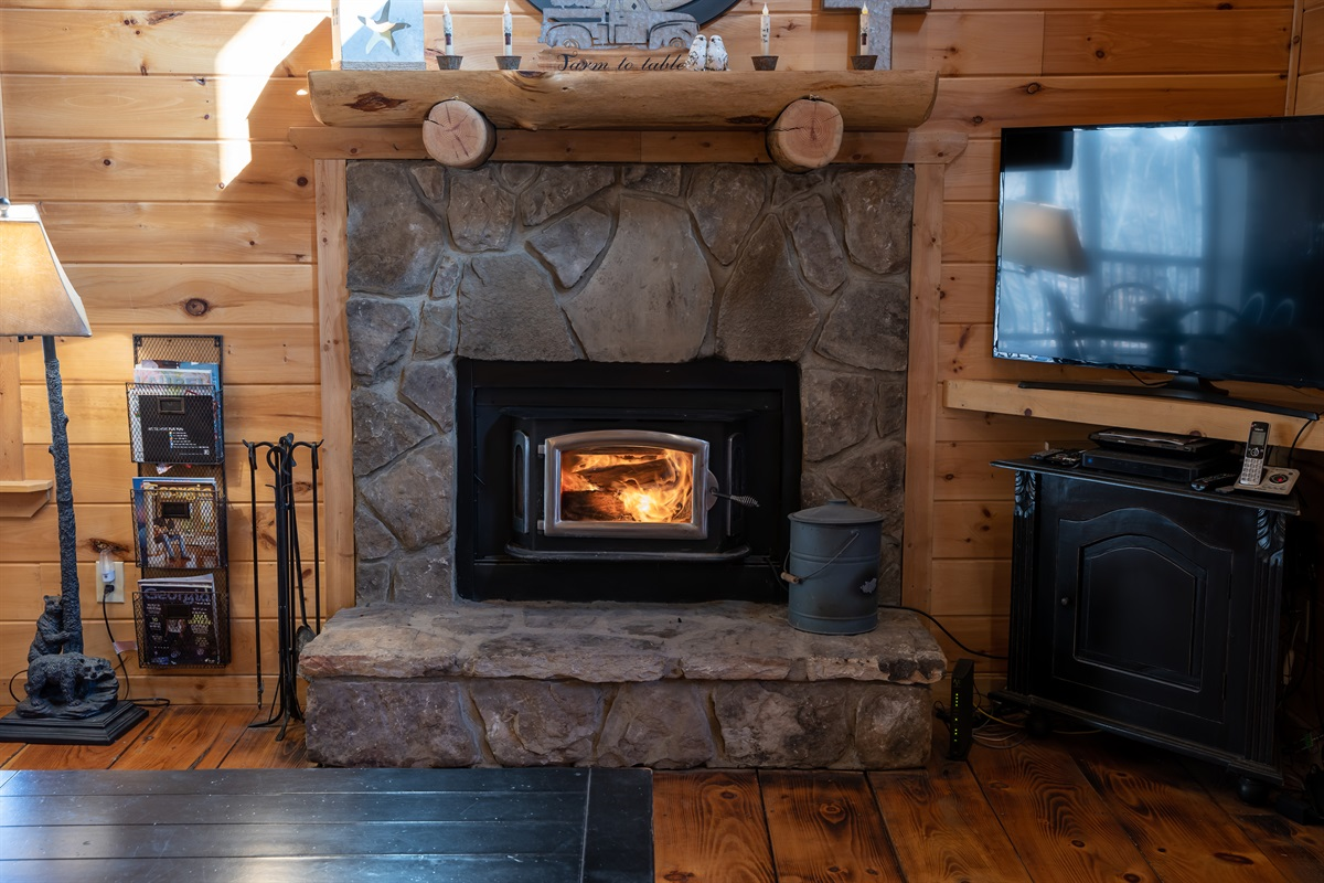 Wood Burning Fireplace (Kiln Dried Wood Only)