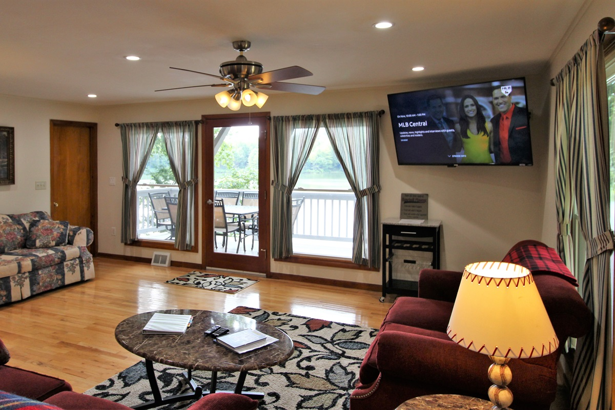 Rain or shine, the view of the lake from the open living room is amazing!