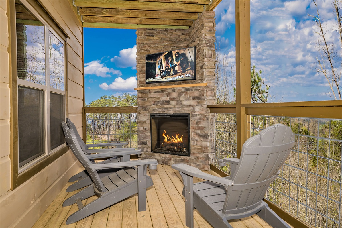 Lower Level Porch with Fireplace