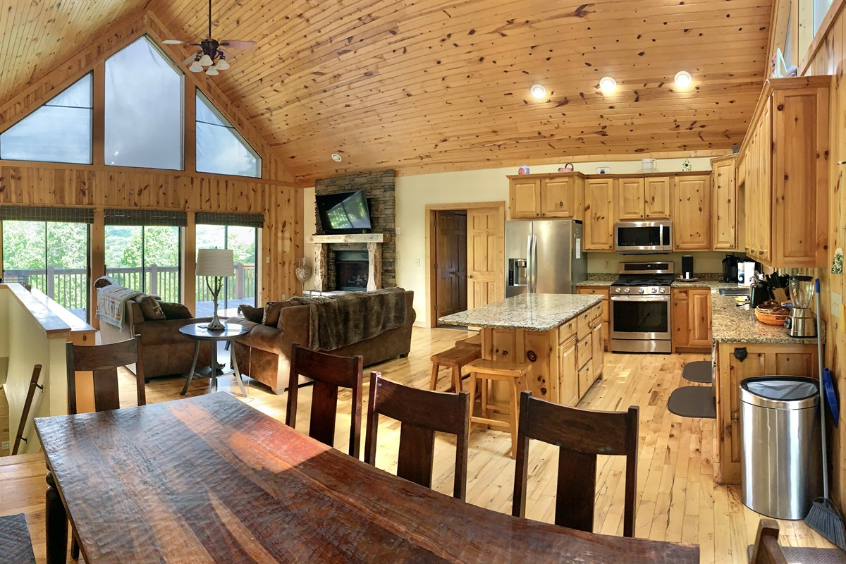 Wide-open Great Room with Floor to Ceiling Windows & Mountain Views