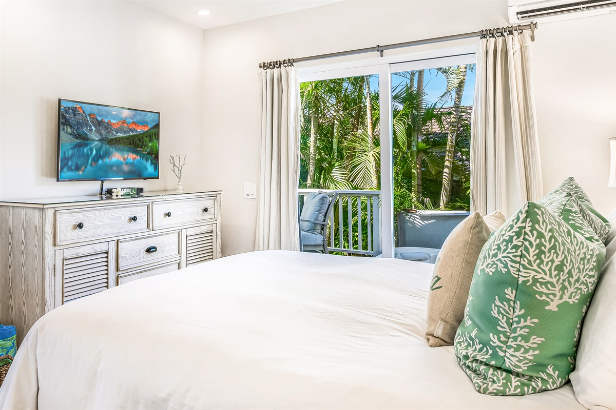 """Bedroom is only a few steps from the saltwater hot tub.  40""""TV (4K UHD smart)"""