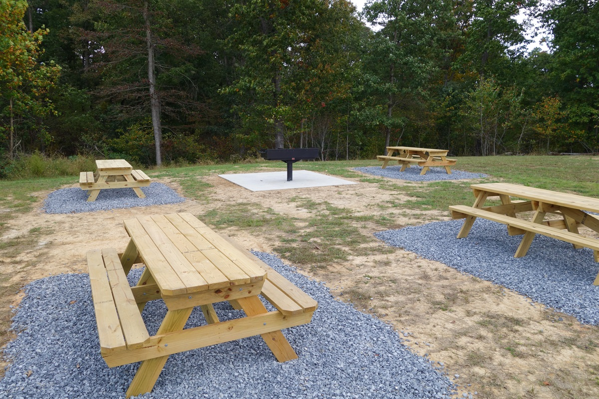 Park-style grill with picnic tables