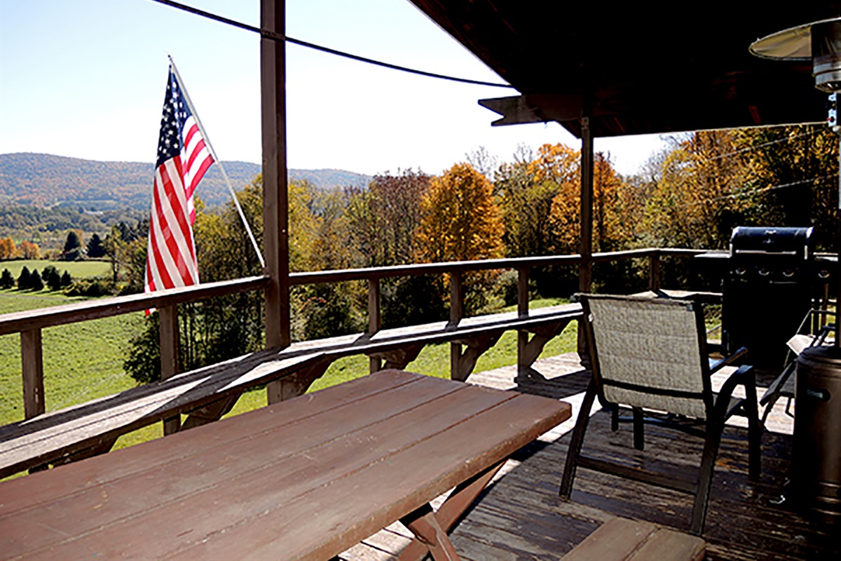 Covered front porch overlooking the valley