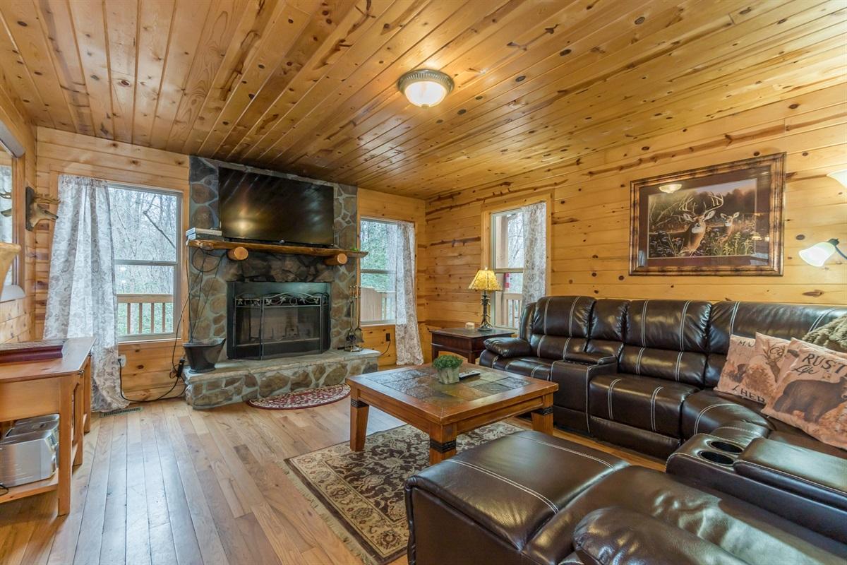 Big TV and Wood Fireplace