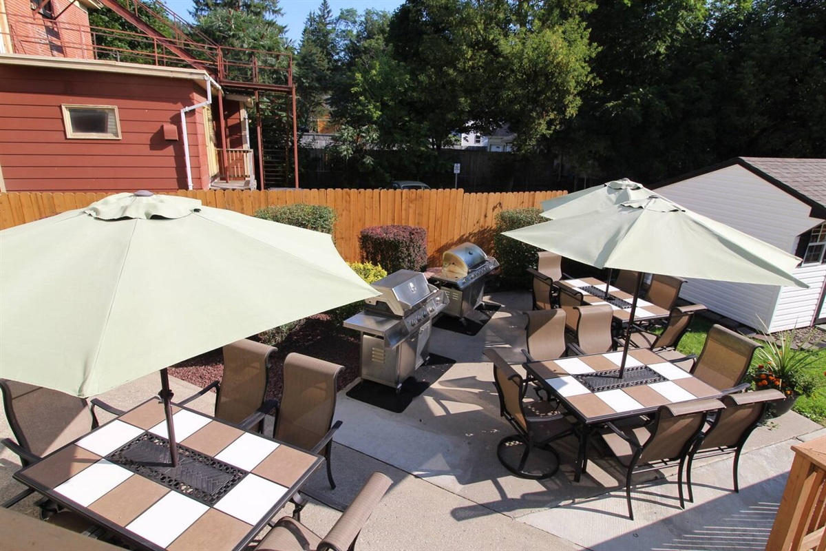 Back patio/BBQ area is shared with all the Triple Play units