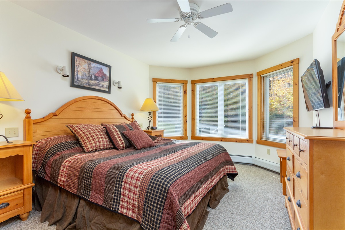 King Bedroom on first floor: Sunny view and flatscreen TV