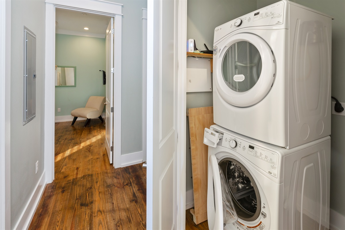 Second floor laundry room is the second of two sets of washer and dryer in the house..