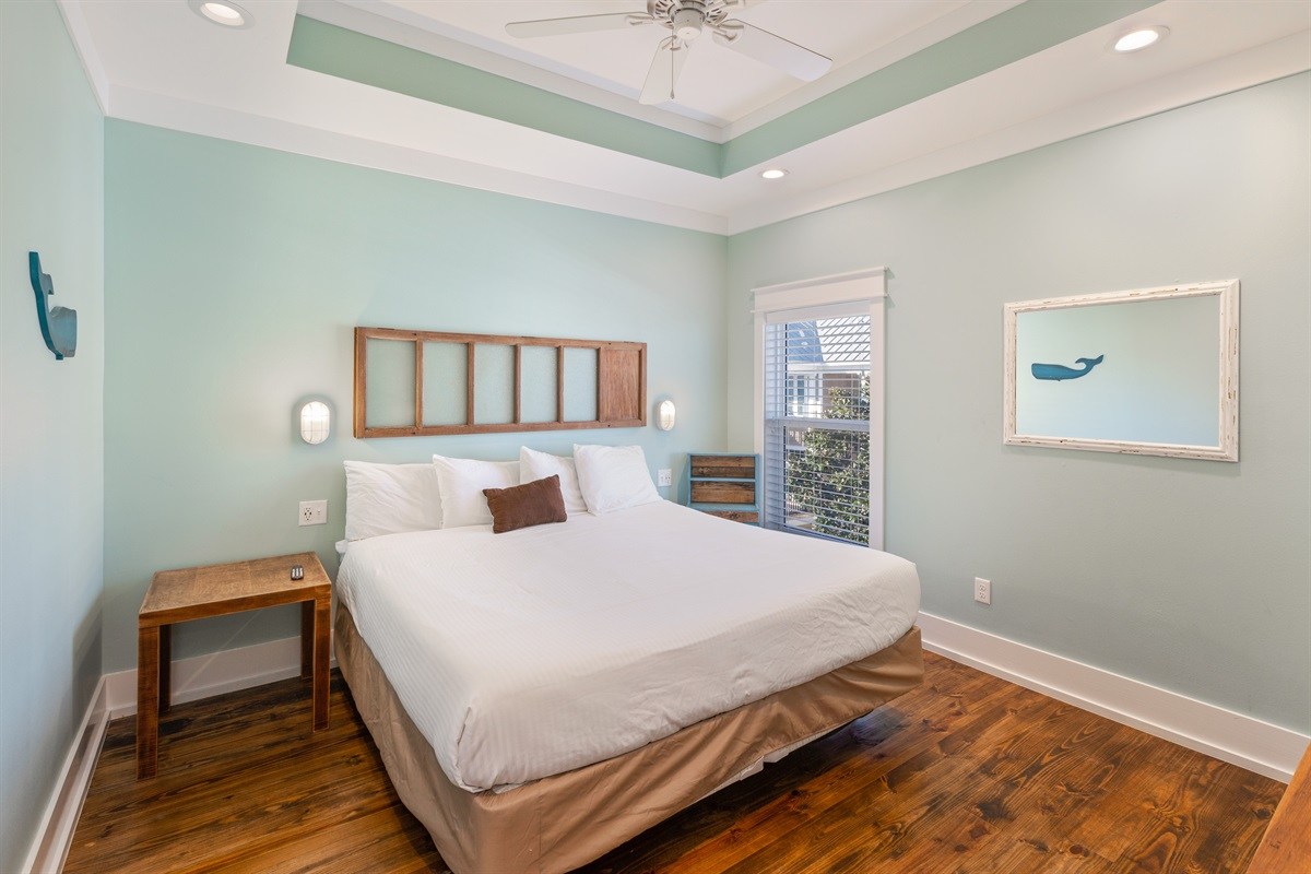 "Third floor ""Whale"" room is a king suite with private bath overlooking the pool and backyard."