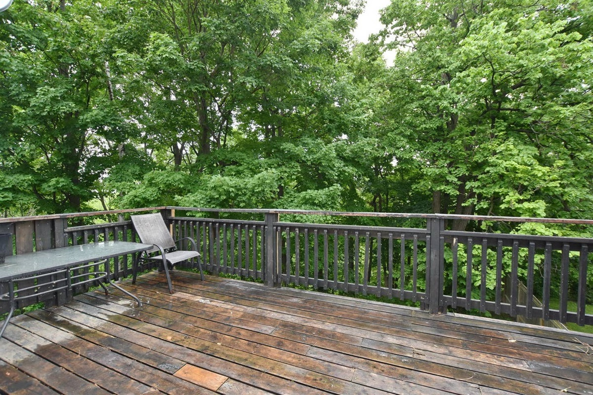 Extra large balcony for your group to enjoy BBQ and the forest in the backyard
