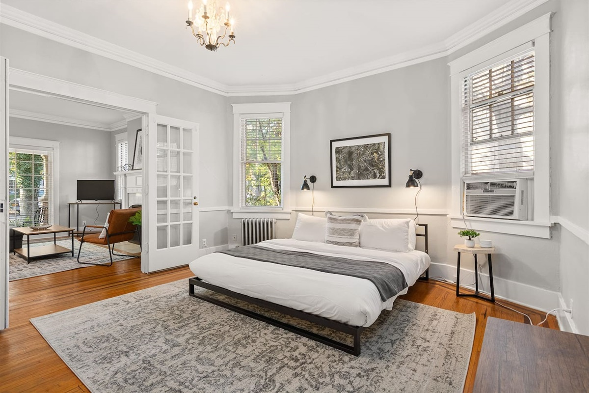 Memory foam mattress in the bedroom for a great night's rest!  Fresh linens for each stay.