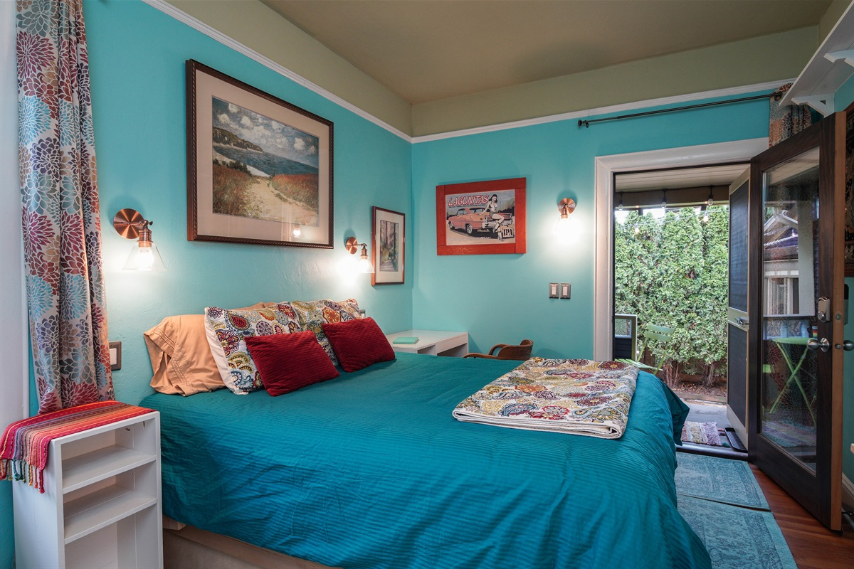 Sleep well in this cozy, luxurious Patio Suite bed.