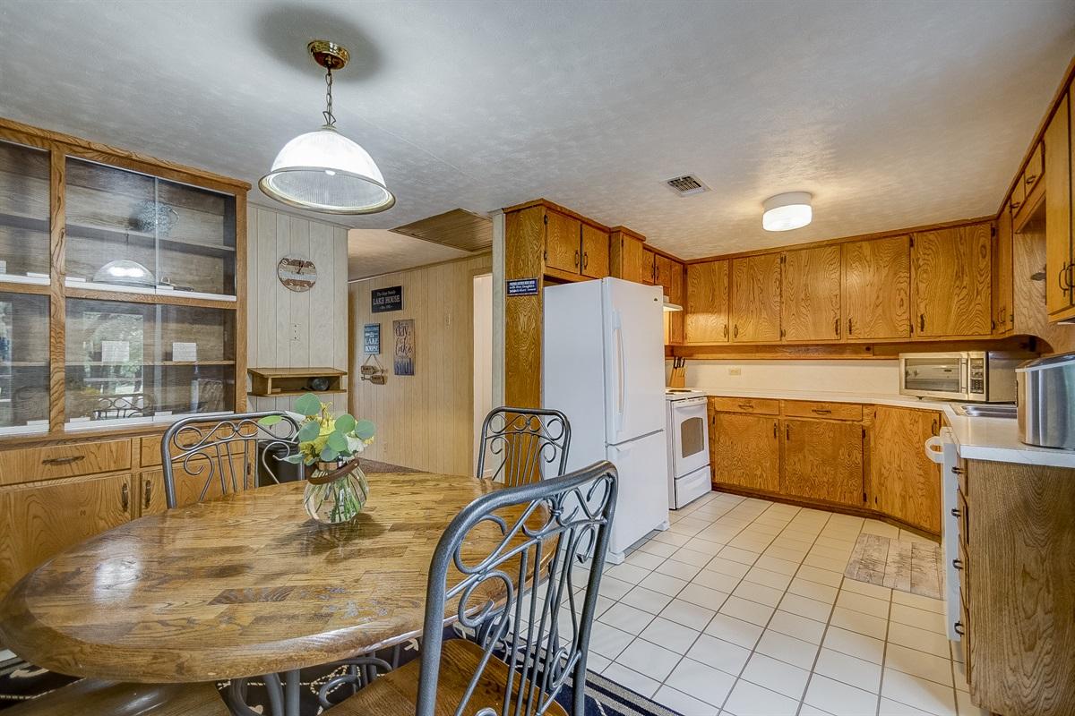 Kitchen is on main level (upstairs)