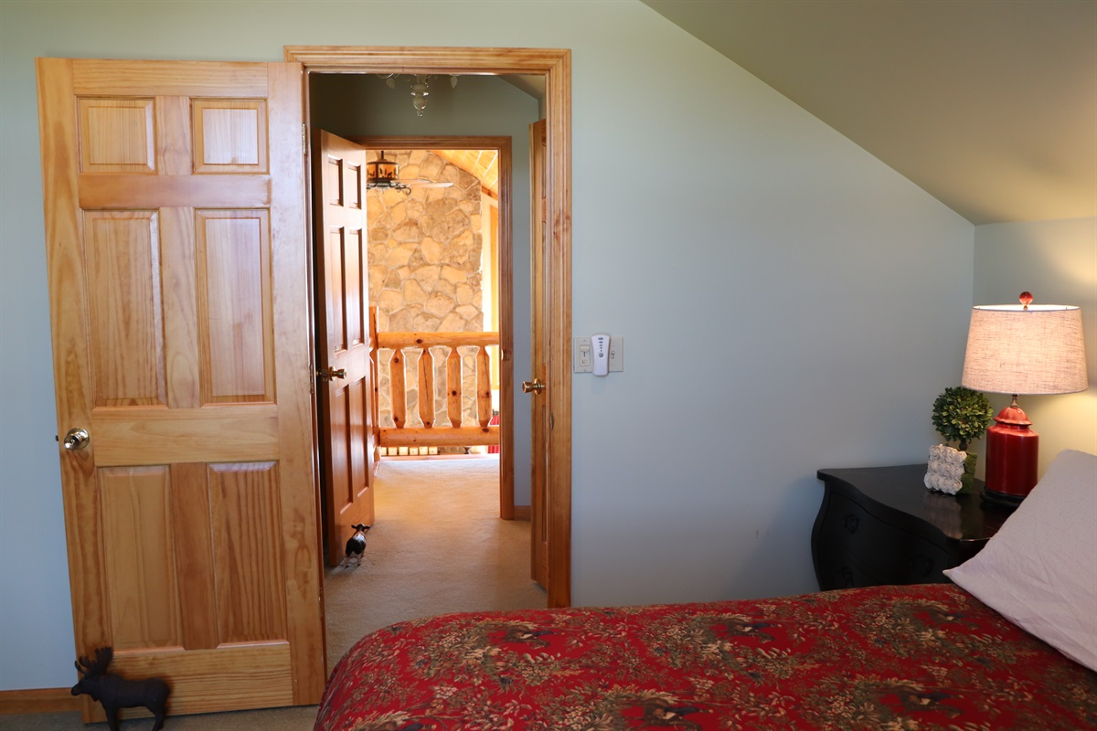 View from within the Master bedroom to loft.
