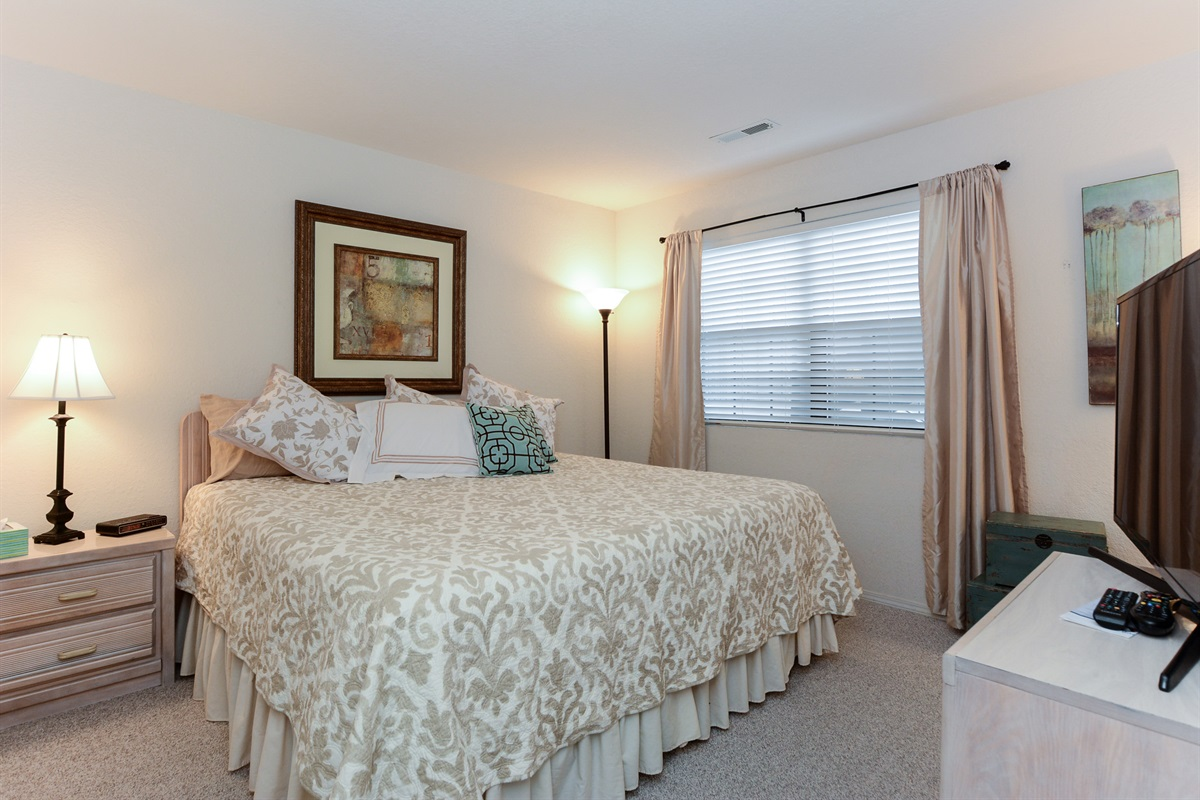 The second bedroom has a king bed with a new, high-quality mattress