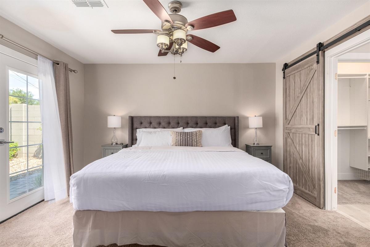 primary bedroom - king bed w/ ensuite bath