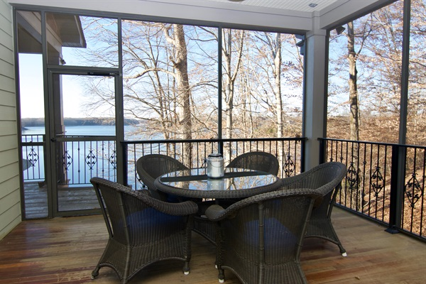 How about breakfast on the screened porch overlooking the lake?