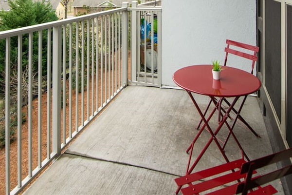 Private patio with a bistro set. Perfect for your morning coffee or newspaper.