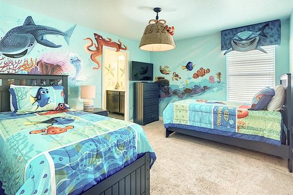 Bedroom 5-2nd Floor-Finding Nemo Theme-2 Twin Beds