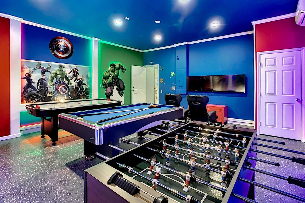 Play Foosball, Pool And Air Hockey