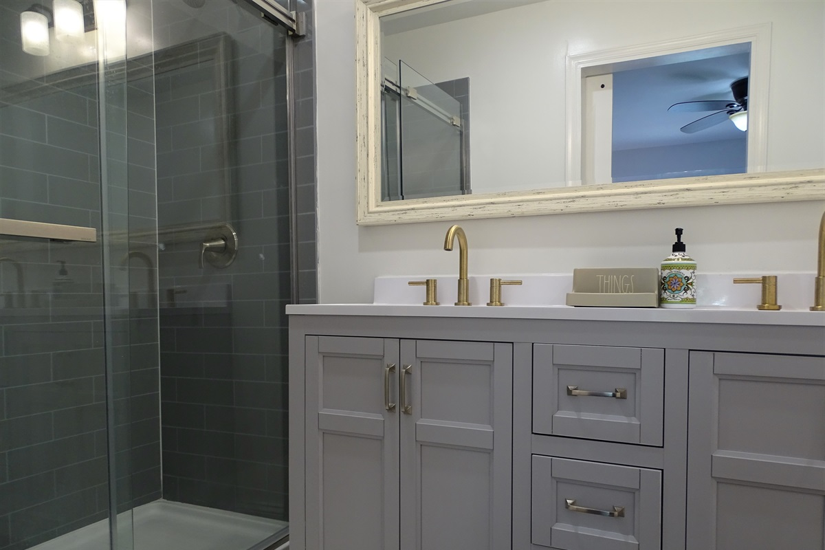 Master Bathroom with gorgeous shower and double vanity