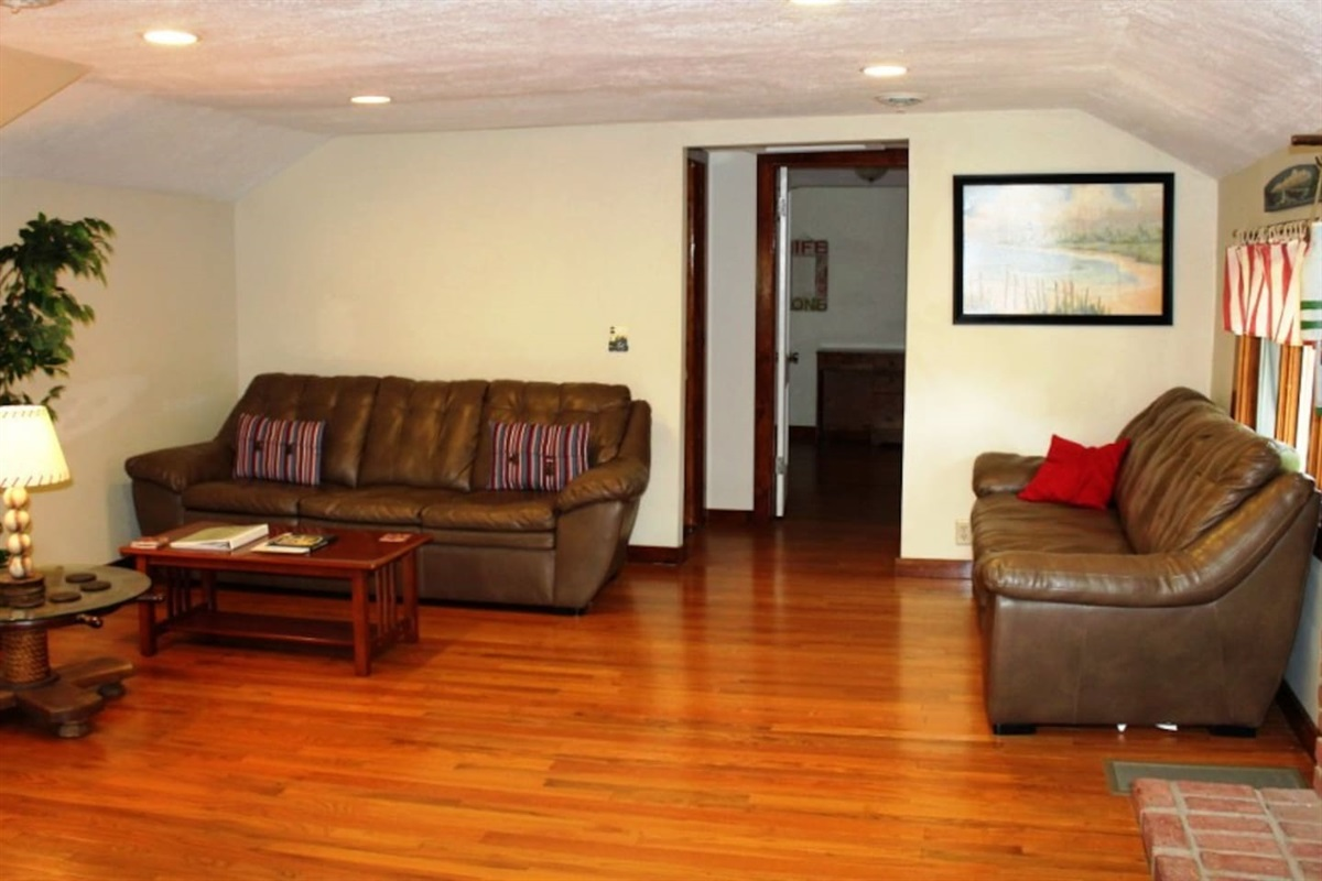 Large living room with hardwood floors