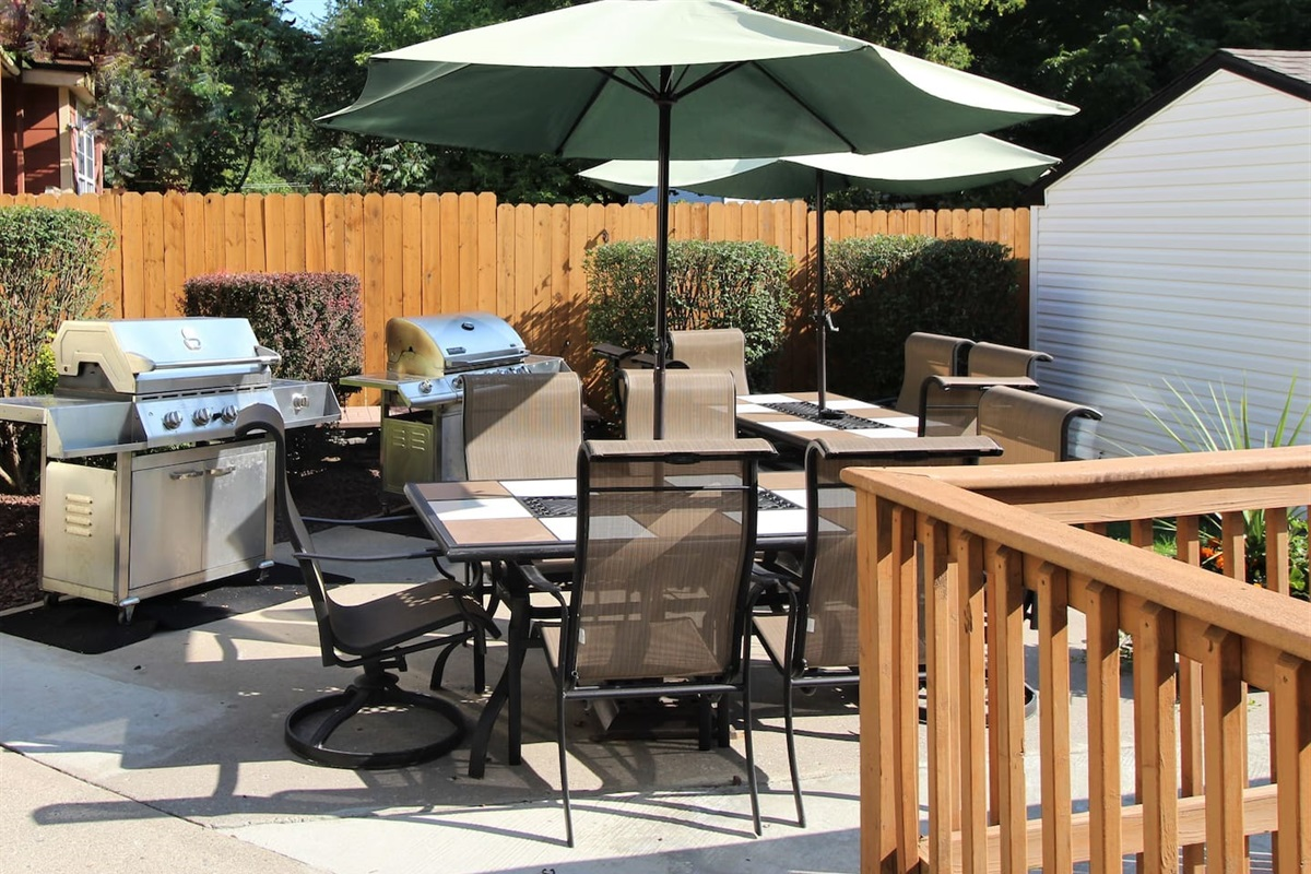 Back patio with gas grills